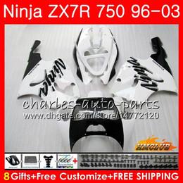 KawasaKi zx7r fairing blacK white online shopping - Body For KAWASAKI NINJA white black hot ZX R ZX750 ZX R HC ZX ZX R ZX ZX7R Fairings