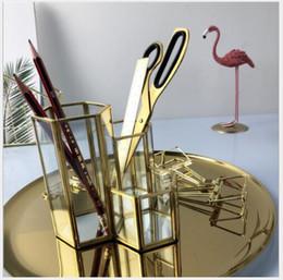 Glasses eyebrows online shopping - Brass Glass Cosmetic Brush Barrel Hexagonal glass eyebrow penholder Glass flowerpot European style retro desktop decoration