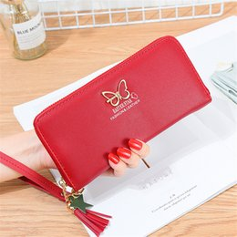 $enCountryForm.capitalKeyWord Australia - Women Wallet Tassel Pendant Coin Faux Leather Letter Butterfly Purse Card Package Zipper Holders Clutch Lady PU Phone