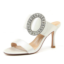dc15a9fd4de New Fashion Sexy Women Banquet High Heel Metal Rhinestone Buckle Satin Word  Female Sandals Slippers Factory Wholesale Kate style Retail