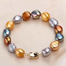 $enCountryForm.capitalKeyWord Australia - Fashion Multi Color Natural Baroque Pearl Bracelet Gold Color Jewelry 9-10mm Real Freshwater Pearl Bracelets For Women J190628