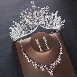 Crystal Tiaras Crowns Wedding Hair Jewelry neceklace earring Cheap Wholesale Fashion Girls Evening Prom Party Dresses Accessories on Sale