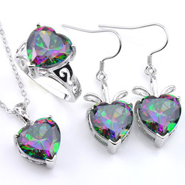 mystic fire topaz pendant UK - Mix 3PCS Wholesale Valentine's Day Wedding Gift Fire Rainbow Mystic Topaz 925 Sterling Silver Pendants Rings Dangle Earrings Jewelry Set