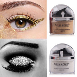 miss rose glitter eye shadow NZ - free shipping Miss Rose 2 in 1 highlighter Makeup Contour Palette Eye Loose Powder Glitter Gold Eye shadow Makeup Palette 2 colors