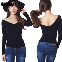 51dcbfccf8f7b T-shirt Women Sexy V-neck Off Shoulder Long Sleeve Tops Tees Spring Autumn  2018 Korean Fashion Ladies Tops Fitness Shirts