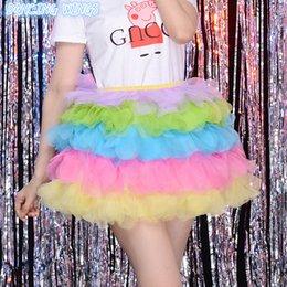 465f9416d Rainbow Color Dance Skirt High Waisted Ball Gown Tulle Tutu Skirt Mini Skirt  Sexy Women Adult Faldas Saias Femininas