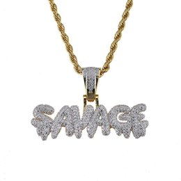 Discount gold twisted chains for men - Hip Hop Necklace Brass Gold Color Iced Out Chains Micro Pave Cubic Zircon SAVAGE Pendant Necklaces Charm For Men Gifts 2