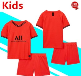 yellow green soccer kits NZ - Kids Kit 2020 Paris away red #7 MBAPPE #10 NEYMAR JR Boys soccer Jerseys 19 20 Child Suit Football uniforms Customized jersey+shorts