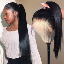 ponytail wigs straight NZ - 360 Lace Frontal Human Hair Wigs Pre Plucked for Black Women Straight Short Brazilian Front Hd Long Remy Wig Full Lace Ponytail