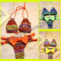 $enCountryForm.capitalKeyWord Australia - 2016 Hot Summer Bikini Brazilian Style Women Bikinis Geometric Push Up Swimsuit Halt Top With Bow Bottom Bathing Suit