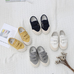 Wide Canvas Shoes Australia - Autumn Boys And Girls Fashion All-match Canvas Sneakers Kids Solid Color Hook Loop Breathable And Antiskid Children Casual Shoes Y190525