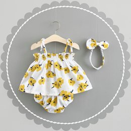 $enCountryForm.capitalKeyWord NZ - Infant Baby Clothes Sleeveless Print Flower Summer Baby Girl Dress Cotton Party Princess Dresses Elastic Baby Headbands Set Y19050801