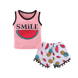 Cute zebra print online shopping - INS Baby girls clothing set ice cream watermelon Pineapple printed vest tank tops with tassel shorts pants sweet girl outfits