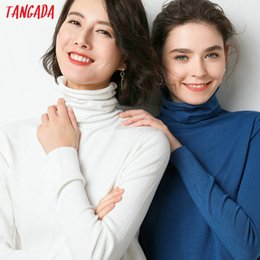 casual chic style women 2019 - Tangada korean style women solid turtleneck sweater female long sleeve chic winter ladies jumpers sweater pull femme AQJ