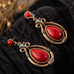 Vintage Copper Earrings Dangle Australia - Vintage Ethnic Hanging Dangle Drop Earrings with Water Drip Nature Stone for Women Female Wedding Jewelry Ornaments Accessories