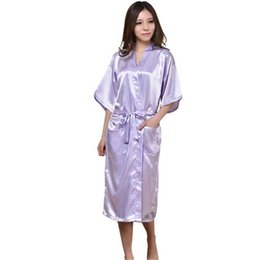 Wholesale Satin Robes UK - Women Silk Satin Long Wedding Bride Bridesmaid Robe  Kimono Robe Feminino 90f975851