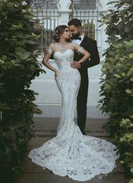 $enCountryForm.capitalKeyWord Australia - 2020 New Modern Arabic Mermaid Wedding Dresses Sweetheart Illusion Lace Appliques Court Train Plus Size Sexy Open Back Bridal Gowns Vestidos