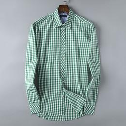$enCountryForm.capitalKeyWord Canada - Dress Shirt Designer Brand Mens Plaid Business Office Shirt Long Sleeve Brand Blouse High Quality Mens Tops S-3XL 4 Color