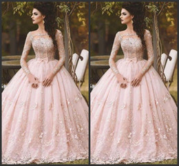 $enCountryForm.capitalKeyWord NZ - 2019 New Pink Long Sleeve Prom Dresses Ball Gown Lace Appliqued Bow Sheer Neck Vintage Sweet Debutantes Quinceanera Dress Evening Gowns