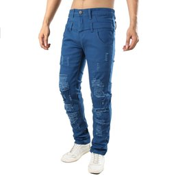 $enCountryForm.capitalKeyWord UK - Mens Hole Casual Jeans Trousers Fake Double Pants Personality Slim Ripped Male Patched Beggar Elasticity Denim Destroyed Jeans