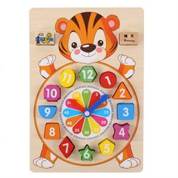 cognitive blocks NZ - Children Wooden digital Time toy child Montessori Cartoon Animal Digital Clock Cognitive shape matching blocks toy