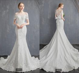 $enCountryForm.capitalKeyWord Australia - Robe de mariage new real 2019 mermaid white lace elegant wedding dress sheer back sexy corset court train cap sleeve bride gowns hot sale