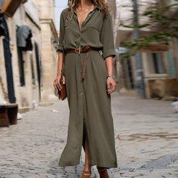 $enCountryForm.capitalKeyWord Australia - New Fashion Women Casual Long Dress Women Autumn Winter Long Sleeve Button Shirt Maxi Dresses Ladies Vestido