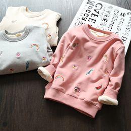 Branded Baby Kids Clothes Australia - Embroidery Rainbow Animal Winter Baby Girls T Shirt Plus Fleece Warm Sweatshirt Thicken T Shirt Kids Baby Brand Clothes 2-7 Year
