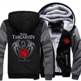 Thickness Coatings Australia - 2018 New Thickness Game of Thrones House Targaryen Jacket Sweatshirts Thicken Hoodie Zipper Coat USA size