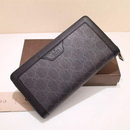 $enCountryForm.capitalKeyWord Australia - Top Quality Luxury Celebrity Design Letter Embossing Zipper Wallet Long Purse Canvas Leather Black Man 322147 Clutch