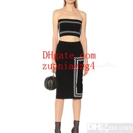 long sleeve tube tops 2019 - 2019 Summer New Tube Top String Long Skirt Letter Knit Casual Dress Suit Sleeveless Solid Slim Fit Women Clothes Two Pie