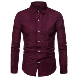 Discount fashion dressing style men shirt - Fashion Fold Style Man Shirt Loose Male Nylon Blouse Turn-down Collar Tops Party Wear 2019 Elegant Dinner Clothing Novel