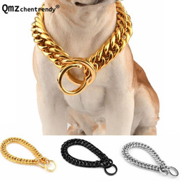 Discount pitbull dogs - 18mm Metal Chain Gold Silver Black Tone Double Curb Cuban Pet Stainless Steel Dog Chain Collar Pet Pitbull Necklaces
