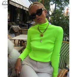Wholesale neon long sleeve pullover for sale – designer Spring Knitted Sweater Womens Turtuleneck Long Sleeve Neon Casual Knit Femme Pullovers Streetwear Clothing Green Sweaters