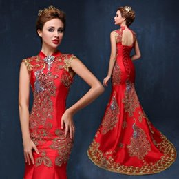 wedding bride dress chinese Australia - Luxury Embroidery Red Chinese Evening Dress Long Cheongsam Bride Wedding Qipao Mermaid Dresses Oriental Style Qi Pao Robe Rouge
