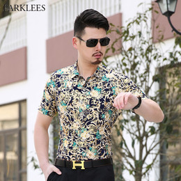 $enCountryForm.capitalKeyWord NZ - Green Floral Shirt Men Brand New Gold Bronzing Mens Dress Shirts Baroque Flower Print Milk Silk Shirts Chemise Homme Camisa 3XL