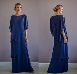 chiffon bateau dress mother bride UK - Jasmine Navy BlueElegant Mother of the Bride Dresses Bateau Tiered Chiffon Long Sleeve Mother's Dresses Plus Size Wedding Guest Dress