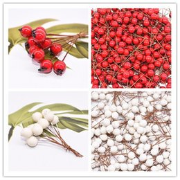 red flower stamens Canada - 50pcs Mini Fake Fruit Artificial Flowers Stamens Red White Berries Cherry Fake Flower for Wedding Christmas Decoration