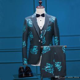 Wholesale Blue Wedding Tuxedos Slim Fit Flower Pattern Peaked Lapel Suits For Men Cheap One Button Groom Suit Jacket Vest Pants SG030