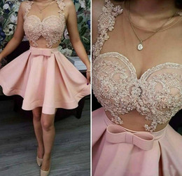 Short StrapleSS prom dreSS white online shopping - Pink Homecoming Dresses Sheer Neck Lace Appliques Short Prom Dress Sheer Neck See Through Cocktail Party Dress Cheap Gowns