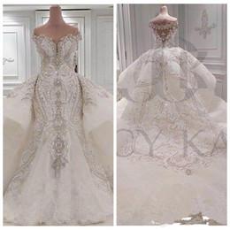 $enCountryForm.capitalKeyWord Australia - 2019 Off Shoulder Lace Appliques Mermaid Wedding Dresses Crystal Beaded Bling Bling Bridal Gowns Vestidos De Marriage Sexy Robe De Mariee