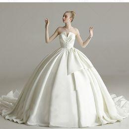 Strapless Satin Wedding Dresses Bridal Australia - 2019 Elegant White Satin Ball Gown Wedding Dresses Custom Strapless Bridal Dresses Sweep Train Plus Size Wedding Gowns Vestido de Noiva