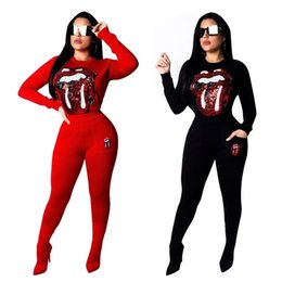$enCountryForm.capitalKeyWord Australia - Lips Sequined Spliced Fashion 2 Piece Set Women Long Sleeve Top And Side Pockets Sheath Pants Autumn High Street Tracksuit Cm300
