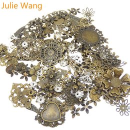 gifts made iron UK - ewelry & Accessories Julie Wang 50g Pack Vintage Mixed Flower Leaf Antique Color Iron Charms Necklace Pendants Findings Jewelry Making Ac...