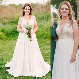 fat size wedding dresses 2019 - Plus Size Bohemian Country Wedding Dresses A Line Illusion Top Chiffon Beach Boho Appliques Lace Bridal Gowns Zipper Bac