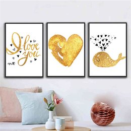Discount whale painting - RuoGuan Modern poster golden whale love Quotes canvas painting wall art pictures for living room decoracion No Frame SH-