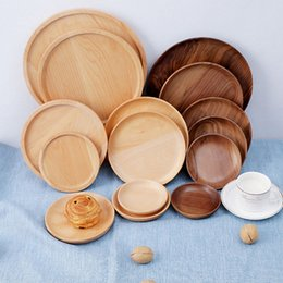wholesale snack plates NZ - Kitchen Walnut Wood Round Dishes Safety Kids Food Plates Nature Wooden Tableware Multi Size Bread Cake Dishes Fruit Snack Plates VT1608 T03