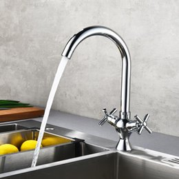 Brass water pipes online shopping - 2018 Torneiras Frap Double Handle Kitchen Faucet Degree Rotation Rule Shape Curved Outlet Pipe Tap Hot And Cold Water Sink