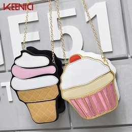 wholesale cake bags NZ - Wholetide- Womem Ice Cream Bag Cake Bag Pu Leather Cute Messenger Bags Candy Colours Small Size Female Chain Handbags 2d Laser Diamond Bag