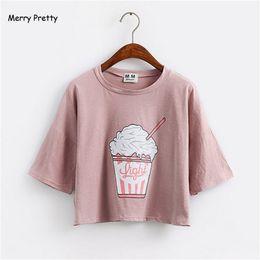 9506e46686 Funny korean t shirts online shopping - Merry Pretty Summer New Harajuku Women  T Shirt Ice
